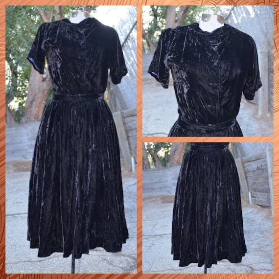 1930s Black Silk Velvet Two Piece Skirt / Shirt
