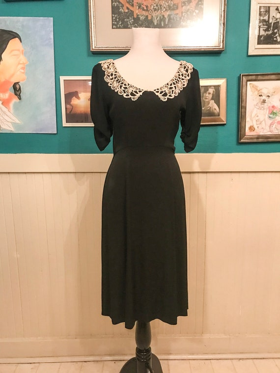1940s White/Black Collar  Dress - image 1