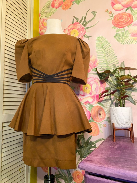 1940s Style Brown Peplum Leslie Lucks Dress
