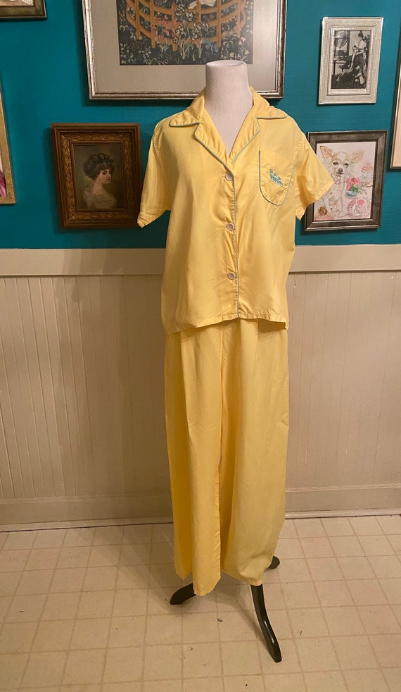 Vintage 50's Yellow Silk Rayon Lounge Pajama Set,