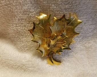 Gold Toned Leaf Trio Brooch