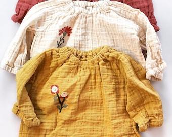 Kids Muslin top/unisex baby top/custom embroidery/boy boho top/girl boho top/hand embroidery/muslin blouse/kids muslin shirt/kids summer top