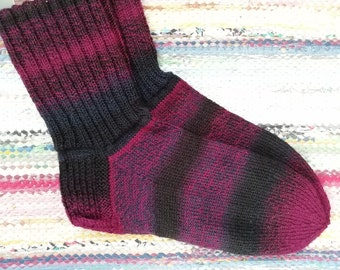 Handknitted woollen colorful ginger socks size US 9 EU 39-40 UK 7
