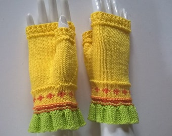 Handknitted colorful yellow cotton summer gloves fingerless gloves wrist warmers size S/M