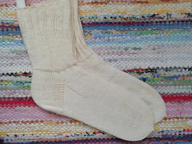 EU 39-40 UK 7 Handknitted white 100/% merinowoollen socks bedsocks housesocks size US 9