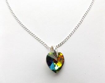 "Beautiful Swarovski Vitrail Medium 14mm Heart 925 Silver 20"" Chain Necklace."