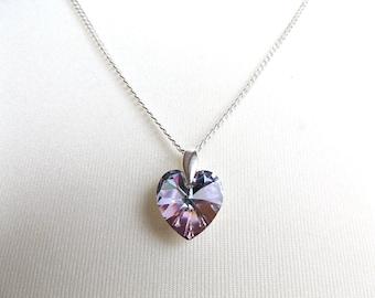 "Beautiful Swarovski Vitrail Light 14mm Heart 925 Silver 20"" Chain Necklace."