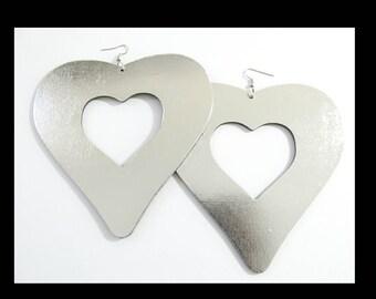 Silver Heart Earrings | Statement Earrings | Rasta Jewelry