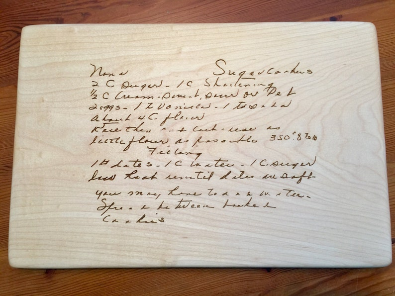 GRANDMA/'S HANDWRITTEN RECIPE Cutting Board  engraved with Your favorite  handwritten recipe on a cutting board.