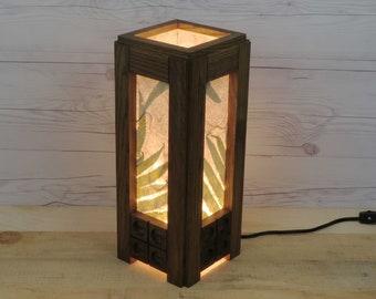 Wooden table lamp, reclaimed wood, living room light, desk lamp, bedroom lamp, cotton fiber paper, zen lighting, night lamp, free shipping