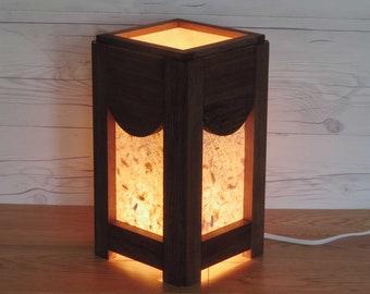Wooden lamp. Accent lamp. Reclaimed wood. Lighting. Home decoration. Paper lamp. Zen lighting. Living room decor. Bedside lamp. Gift ideas.