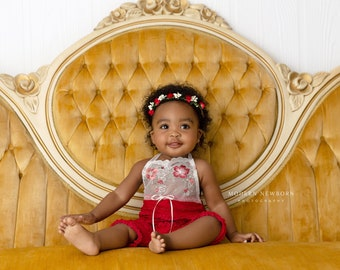 e325bf0f303 HANDMADE CHRISTMAS ROMPER   halo set 6 month 12 month red Christmas outfit  ruffled fabric for photo shoot