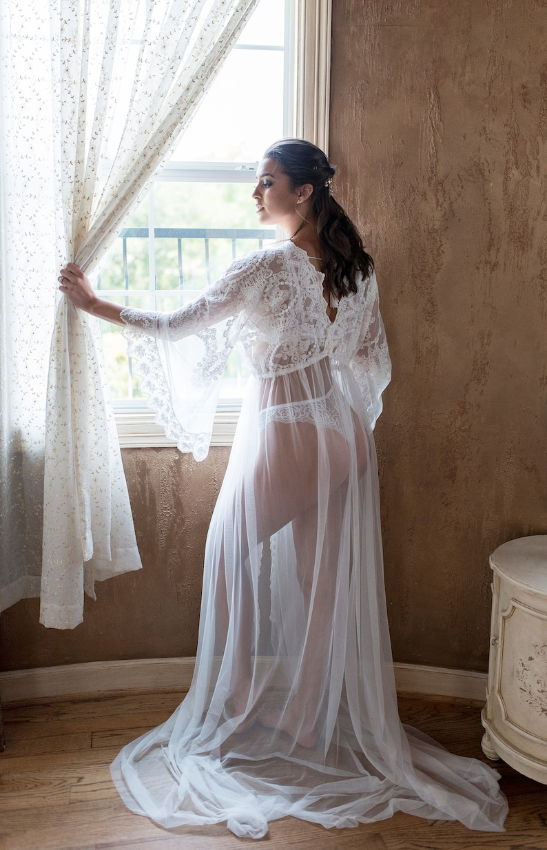 Bridal Boudoir Robe Vintage Embroidered Tulle Wedding Day Gown For Photo Shoot Lingerie Off White One Size Sheer Boho Train