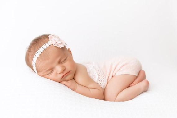 baby photo prop NEWBORN ROMPER headband baby photography prop aqua nb baby romper baby shower gift baby photos handmade stretch knit