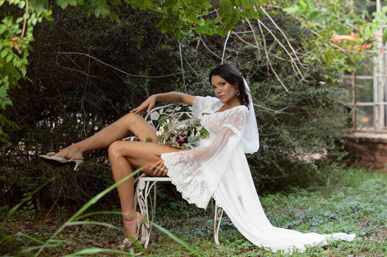 boho bell sleeve elopement robe for photo shoot long off white bridal gown BRIDAL BOUDOIR ROBE wedding day gown size 0-16 train