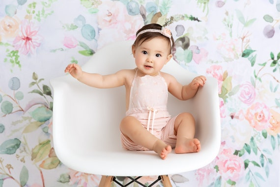photography prop embriodered lace ivory knit romper 12 month sitter set BABY ROMPER  HEADBAND  bonnet: 6 month sitter set headband