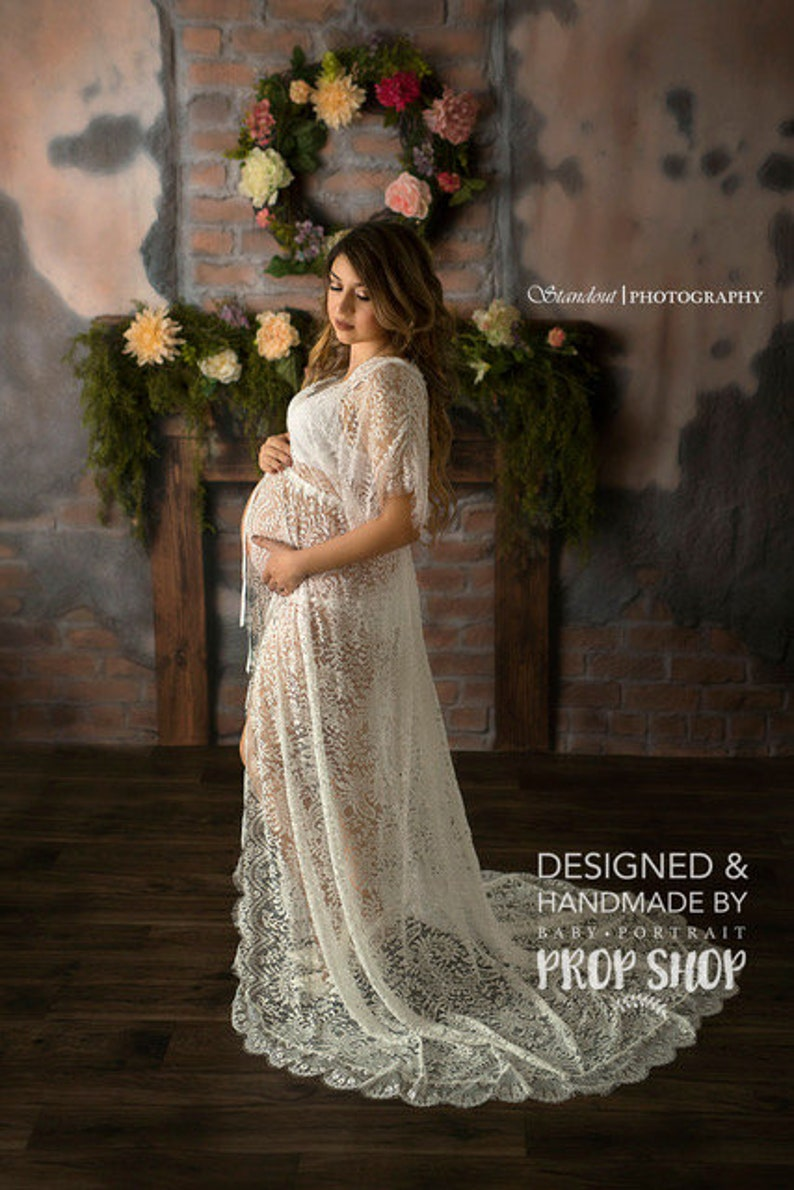 MATERNITY DRESS FOR photo shoot one-size wedding day robe off white eyelash lace short sleeve boudoir robe for photo shoot gift sheer