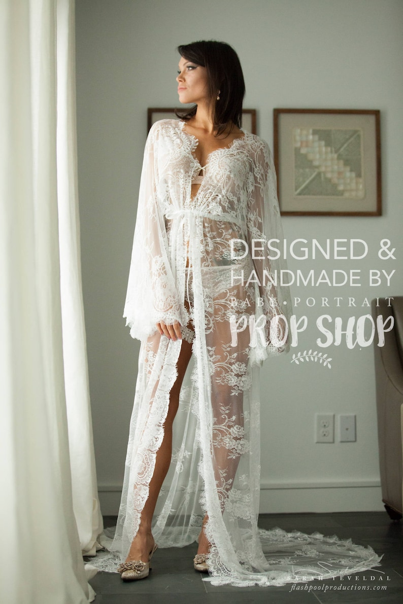 2f87ca848f3 RTS BRIDAL BOUDOIR robe with train wedding day gown for photo