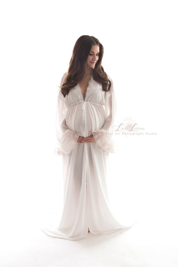 MATERNITY DRESS for photo shoot, off white stretch knit, bridal robe, plus  size, maternity gown with train, floor length, bell sleeve boho
