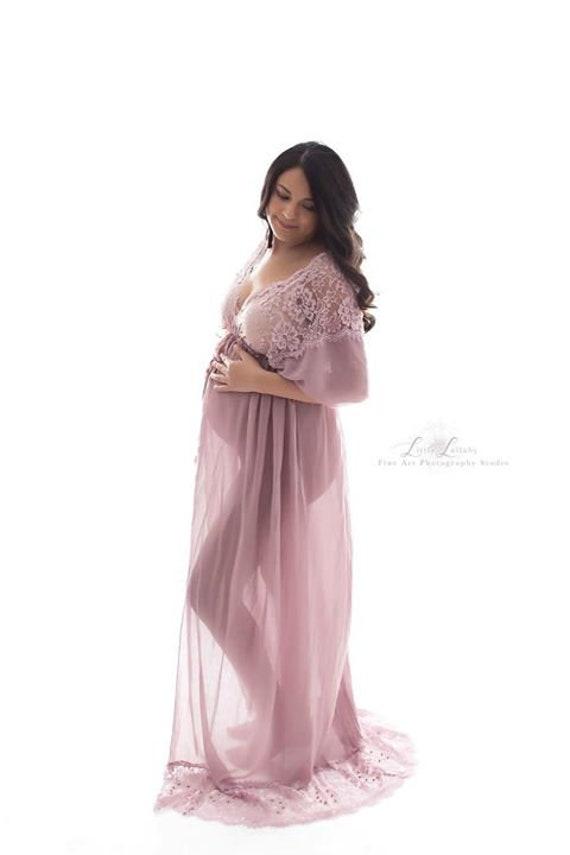 MAUVE MATERNITY GOWN: photo shoot maxi dress lace modern | Etsy