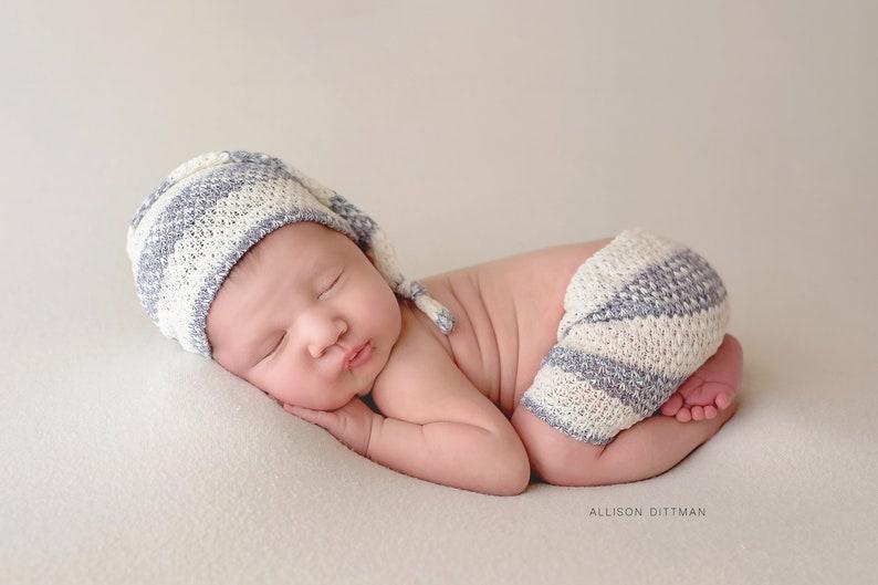 newborn baby shower gift stretch knit baby clothing baby photo prop baby elf hat baby boy photography prop HANDMADE NEWBORN SHORT set