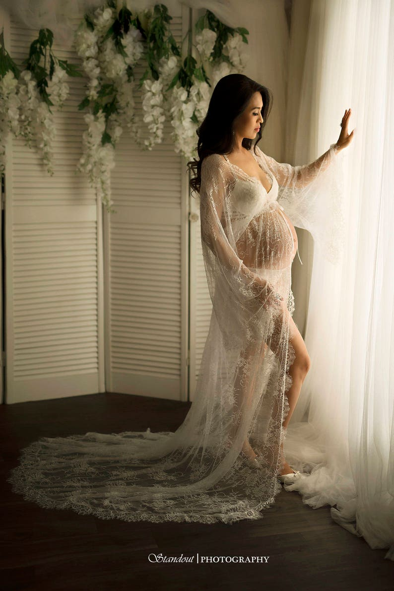 8bf39aa1c4c RTS MATERNITY GOWN with train bridal boudoir robe for photo
