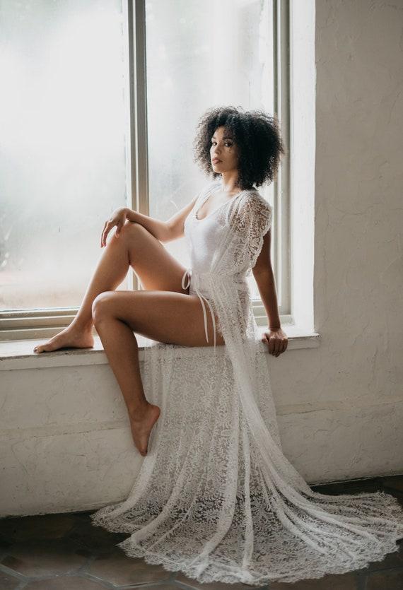 LACE BRIDAL ROBE off white sleeveless with train, boudoir, wedding day robe, for photo shoot, wedding lingerie, shower gift, wedding gift