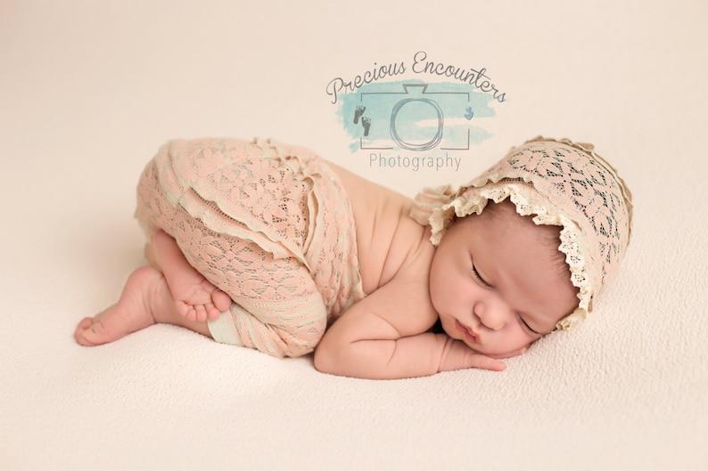 bonnet photo prop ROMPER  BONNET  TIEBACK : dusty pink knit romper newborn romper newborn bonnet baby photography cotton lace trim