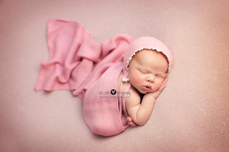 pink wrap handmade photography prop brown ivory trim newborn baby set rose pink knit bonnet NEWBORN BABY BONNET baby photo prop