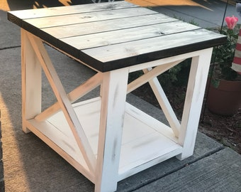Rustic End Table Etsy