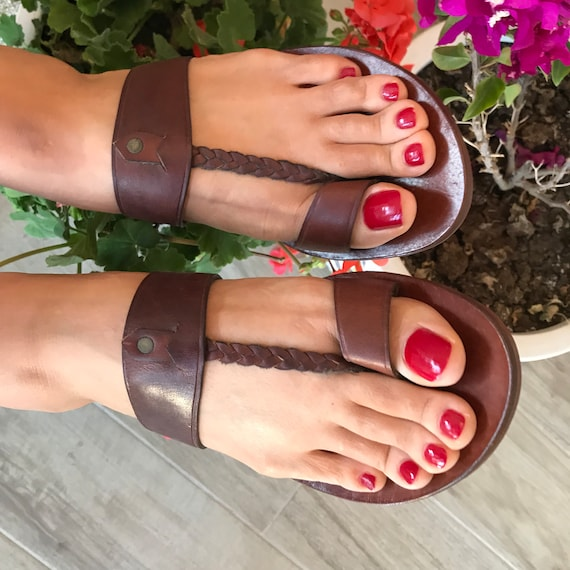 Sandals For Women, Woven T Strap, Toe Loop Thong, Genuine Leather Sandals, Toe Ring One Strap, Flat Heel Flip Flop, Toe Bar Sandals