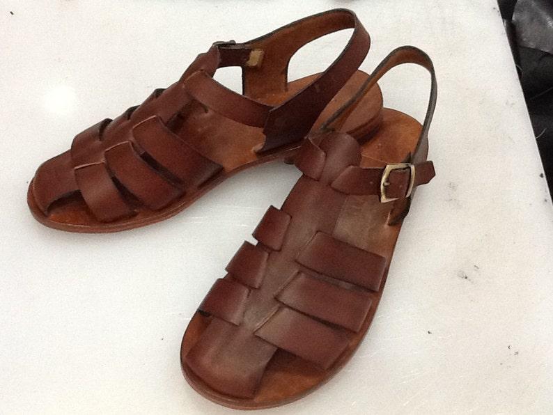 1960s Men's Clothing CACUS : All Leather Gladiator Flat Sandal Handmade leather sandal custom size available $138.00 AT vintagedancer.com