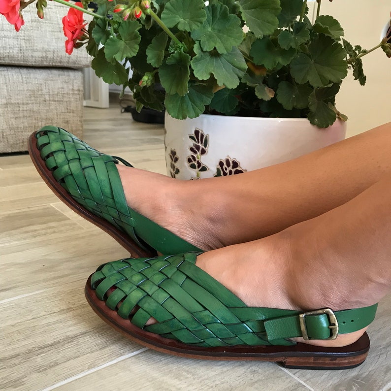c49cf58c4ff1fa Green Leather Sandals Leather Sandals Unisex Woven Leather