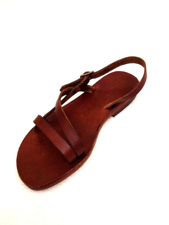 8283440419e2e5 CARNA  Classically Simple Asymmetric Sandal Handmade leather