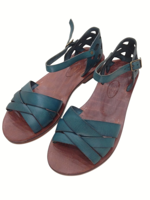 836e2dab9857ef SMINOS  Turquoise Woven Leather Handmade leather sandals.
