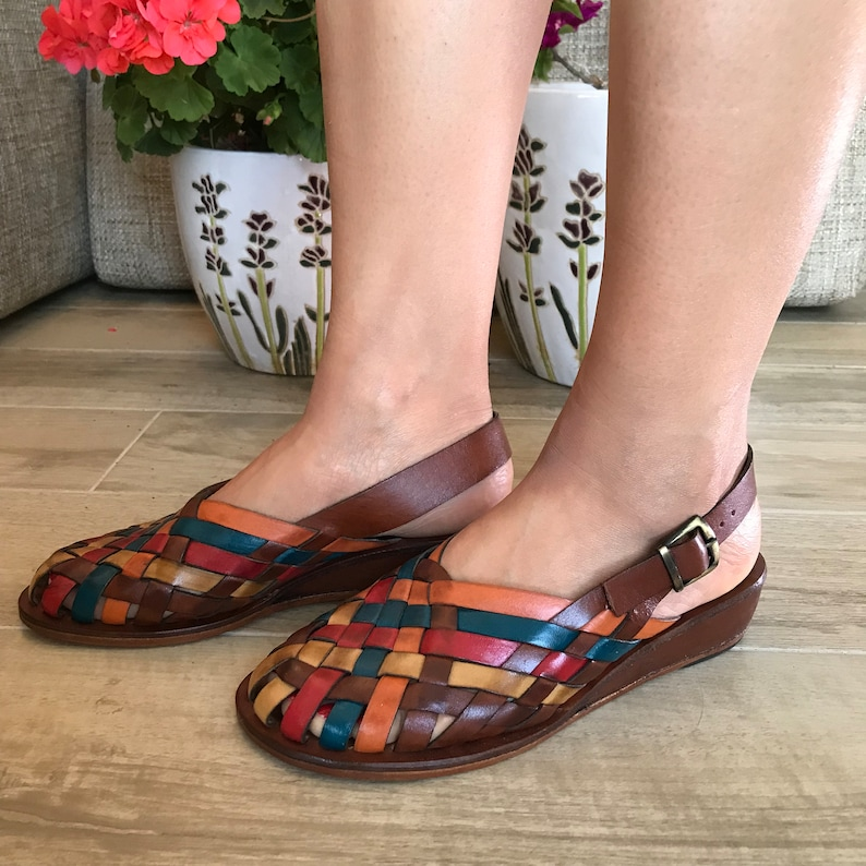 c776eacb4f838d Colored Leather Sandals Leather Sandals Unisex Woven Leather