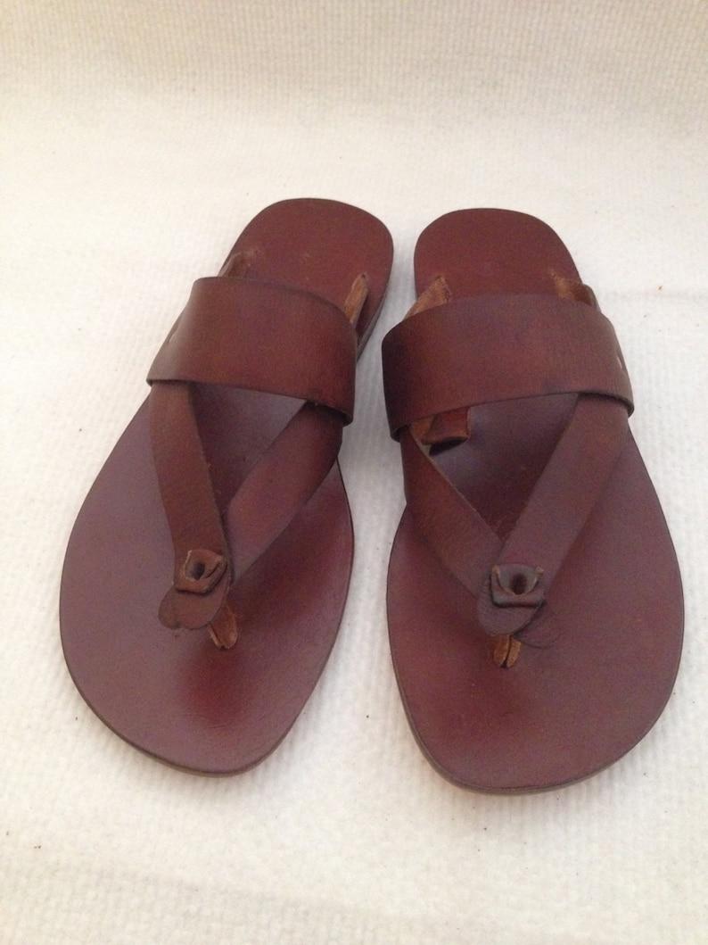 b5112e00c2c2a9 HIKE  Wide Bar and Thong Leather Sandal Handmade leather