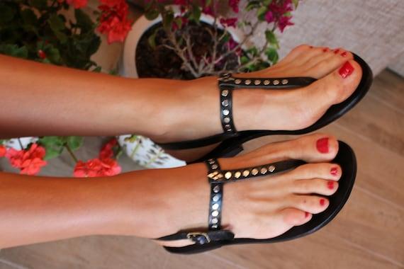 Flat Low Heel Toe Loop Sandals Ankle Strap Toe Loop Wedding Slingback Sandals Custom Size Sandals Brown Metal Leather Sandals Women