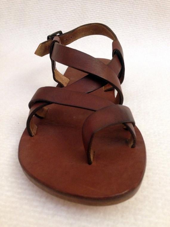 BRAS: Cross Strap Buckle Adjustable Sandal Handmade leather sandals custom order available