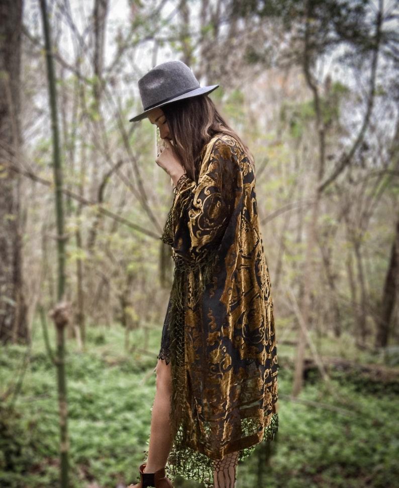 30% OFF  Boho Kimono velvet Green  Gypsy  Women Boho Fringe image 0