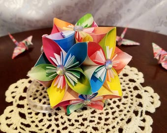 Rainbow Origami Kusudama Flower Ball