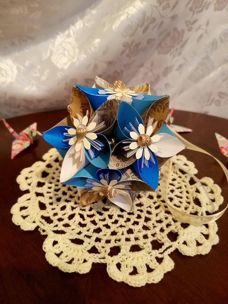Origami Kusudama Diamond Flower Folding Instructions | 1059x794