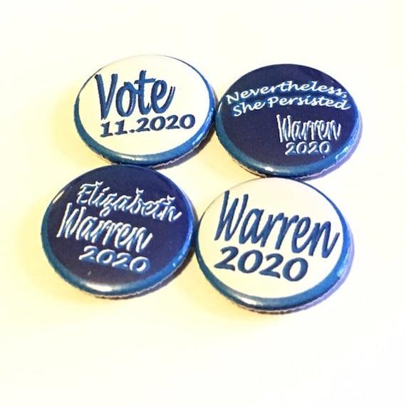 Elizabeth Warren For President 2020 Blue  2.25 Inch Pinback Button Pin