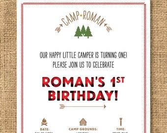 Boys Camp Themed Birthday Invitation - Printable