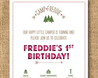 Girls Camp Themed Birthday Invitation - Printable