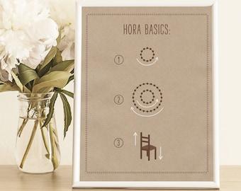 Hora Basics Wedding Sign - Jewish Wedding Details - How to Dance the Hora