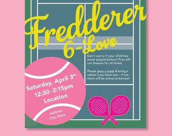 Girls Tennis / Paddle Tennis Themed 6th Birthday Invitation