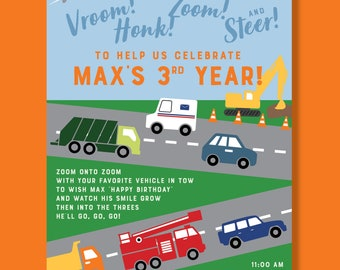 """Cars & Trucks Themed Birthday Invitation (""""Zooming into 3"""") - Digital Download (Transportation / Things That Go)"""
