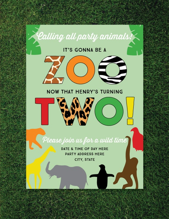 Boys Zoo Themed 2nd Birthday Invitation Animals Safari