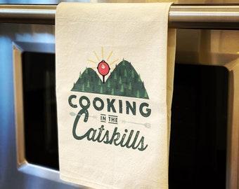 Cooking in the Catskills Kitchen Towel (Tea Towel / Dish Towel)